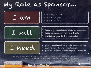 My Role as a Sponsor